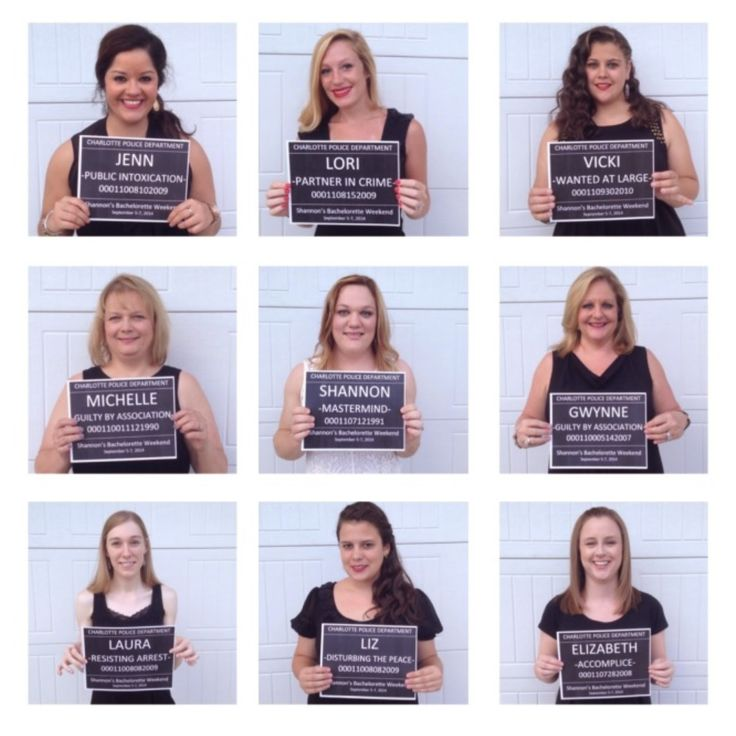 idea for super fun bachelorette party or weekend: bridal style mug shots