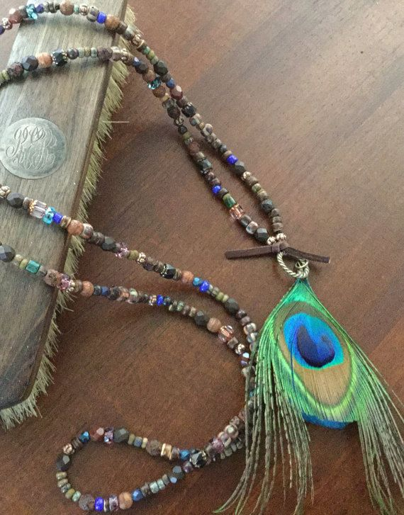 BoHeMiaN FeaTHeR NeCKLaCe LoNg WoMeN's ArTiSaN by Ivanwerks
