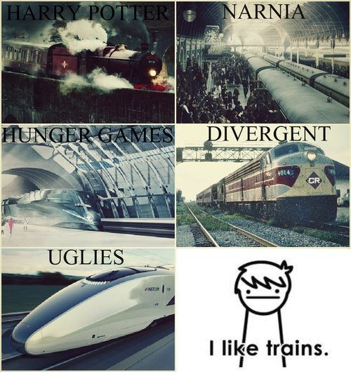 Harry Potter train, Narnia train, Hunger Games train, Divergent train, Uglies train.