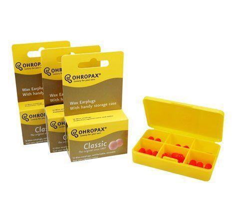 Ohropax Wax Ear Plugs Qty 3 Boxes - Total of 36 Ear Plugs with Free Yellow 6 Compartment Box by Ohropax. $24.95. Ohropax ear plugs are made from a soft wax compound covered with cotton. They provide a comfortable fit into the ear canal while creating an efficient seal against noise or water entry. Ideal for sleep, study, travel or noisy workplaces. Swimmers and bathers can keep water out of their ears.
