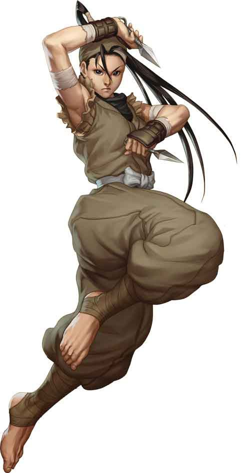 Ibuki from the Street Fighter series. This is art from Third Strike. Ibuki is probably the most iconic female ninja in video games and she - aside from the bombastic hair, seriously, what is that? - appears pretty traditional except for the lack of face mask in most art.