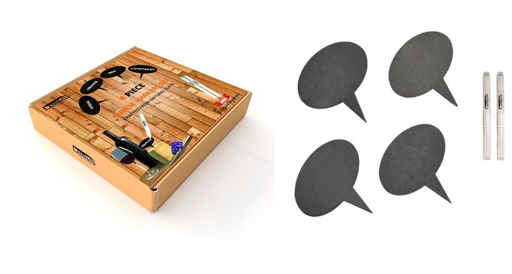 12CHEESE - FOR 15% OFF - Amazon.com   Slate Cheese Markers - Set of 4 - with Liquid Chalkboard Markers in a Housewarming Premium Gift Box by Laminas: Cheese Servers