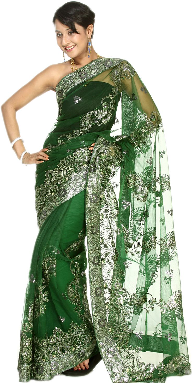 Bottle-Green Sari with Embroidered Silver-Colored Sequins All-Over