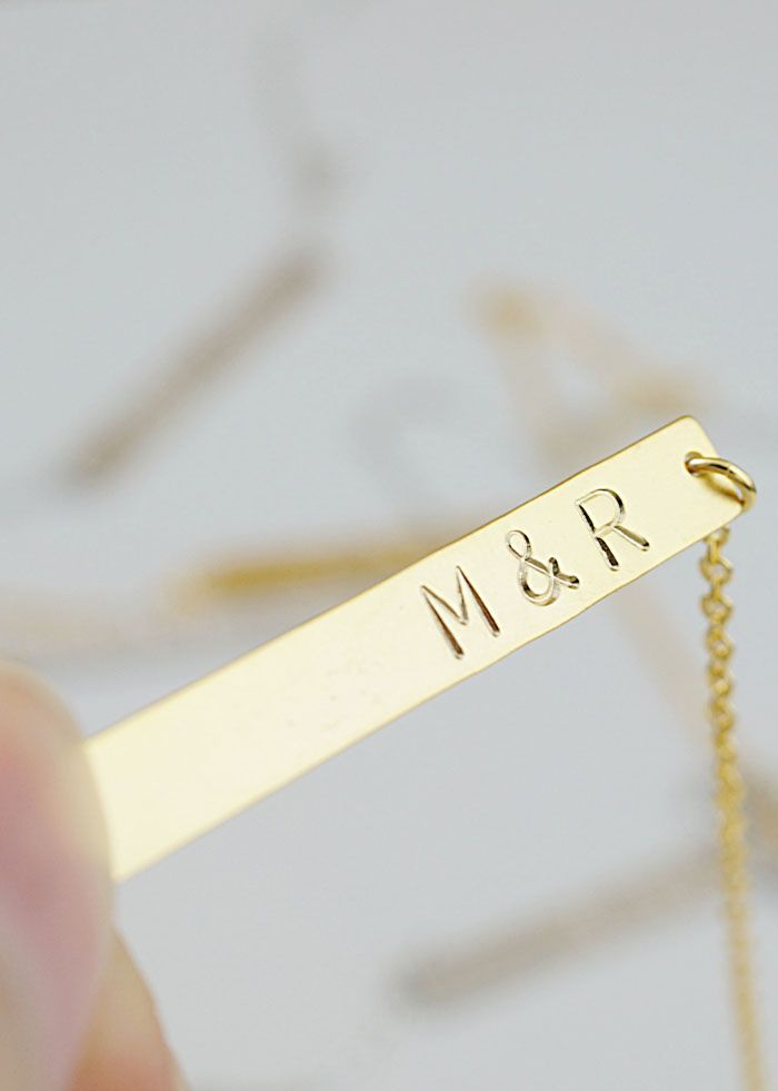 Personalized name bar necklace from EarringsNation Bridesmaid gifts Gold Weddings Initial couple necklace