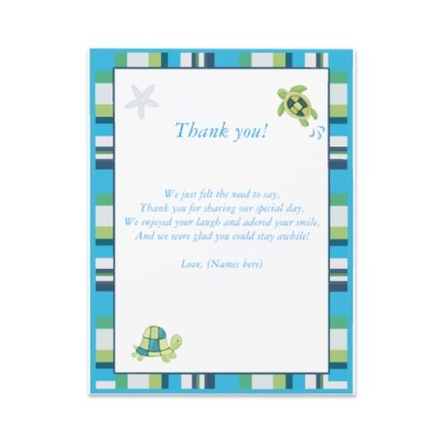 Turtle Bay Baby Shower Thank You Notes