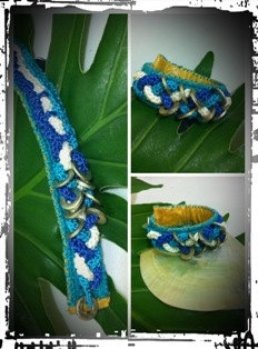 Leather and crochet bracelet by handmadebyputu on Etsy, $68.00