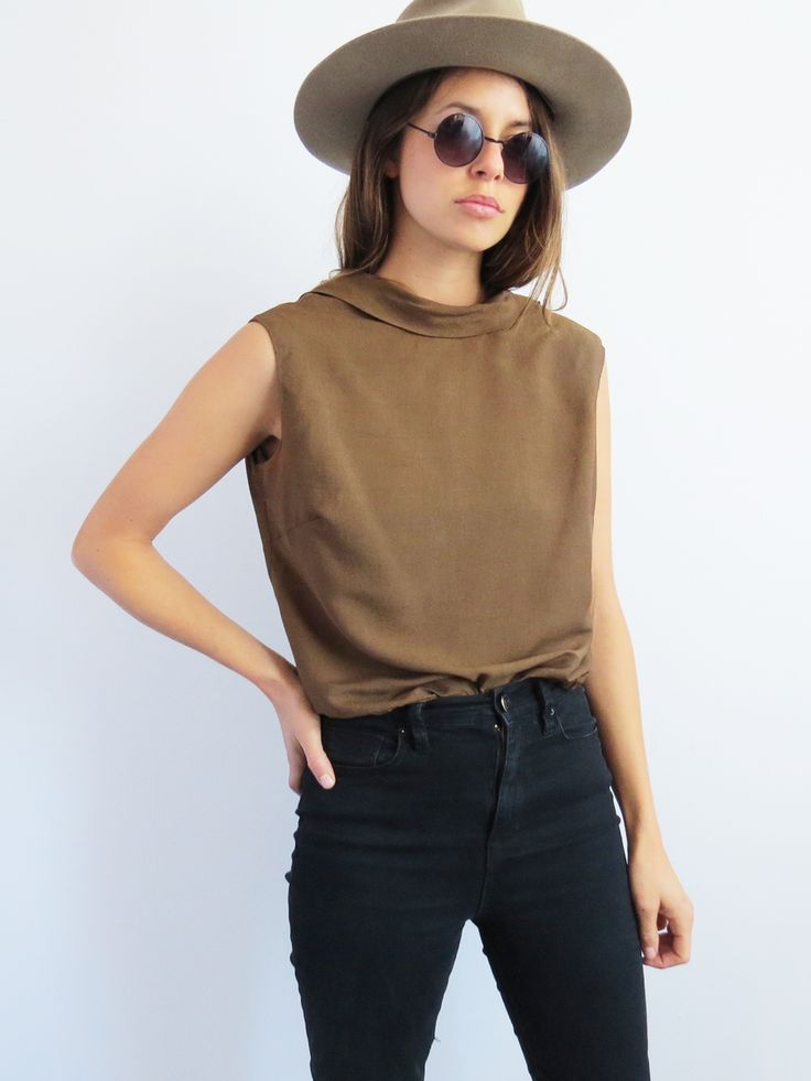 Sleeveless Cafe Top // Vintage 1960's Coffee Brown Blouse SOLD