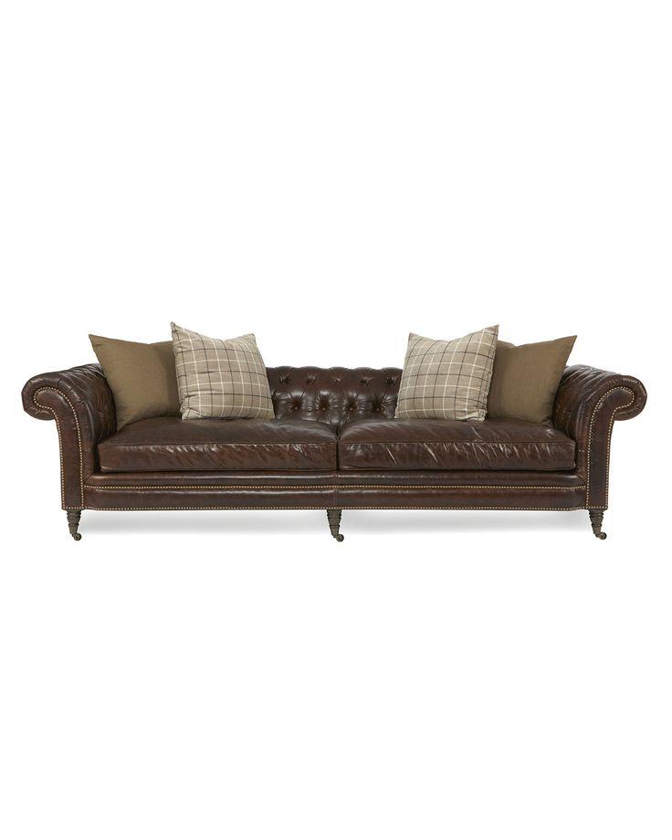 Lauren Tufted Leather Sofa, Brown   Neiman Marcus