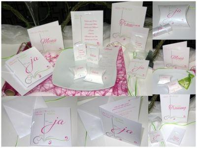 """Hochzeitskartenset """"Design"""" in pink und grün"""