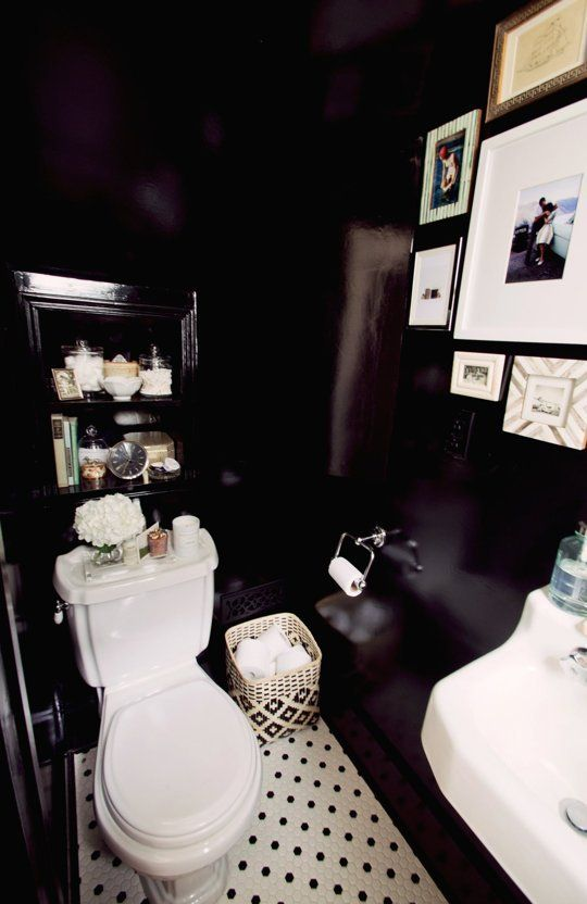 Before U0026 After: Powder Room Exceeds Its Potential. Dark BathroomsBlack White  ...