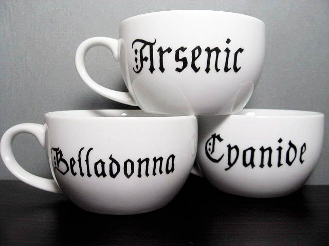 Coffee Cup - Ominous ABC's  - Hand Painted Tea Cups - Arsenic - Cyanide. $32.00, via Etsy.
