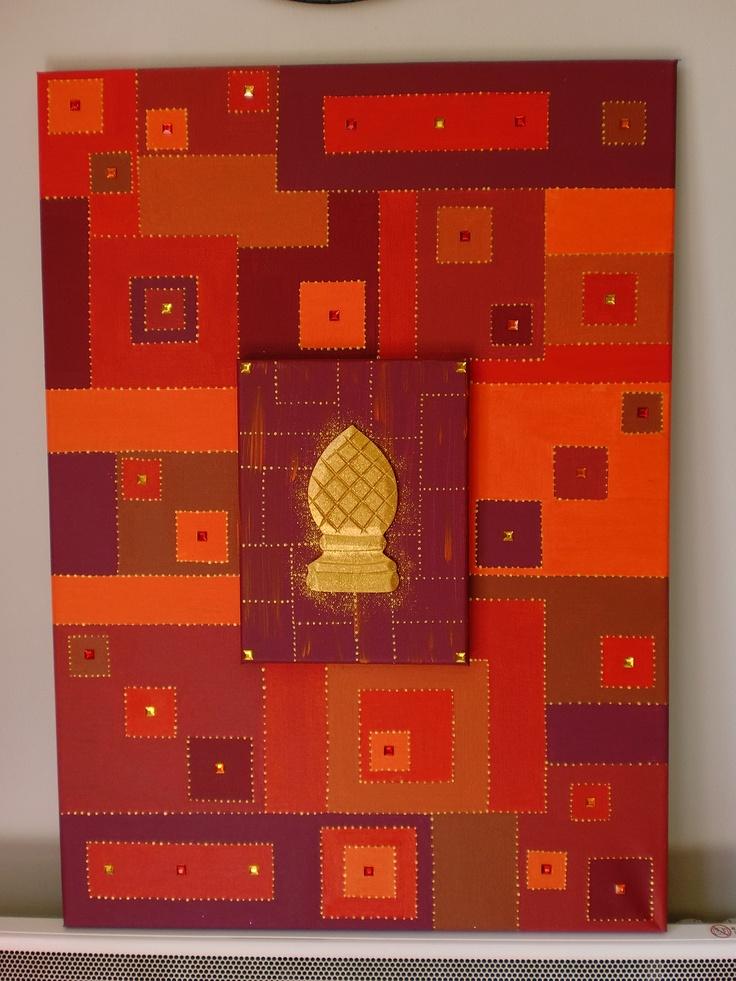 Tableau de 50cm sur 70 cm en peinture acrylique,superposition d'un autre petit tableau,paillettes,sequins et motif en carton.