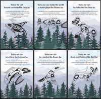 """This set of six Mini Posters features the core competencies, each represented by an animal (bear, beaver, orca, raven, salmon and wolf). The Mini Posters are designed for use with the whole class, and the language has been structured to reflect group conversation: """"Today we connect with..."""" The posters can be displayed individually to focus on a selected core competency, or can be displayed as a group. ( Gifts - Posters:The Six Cedar Trees Mini Poster Set (Set of six) )"""
