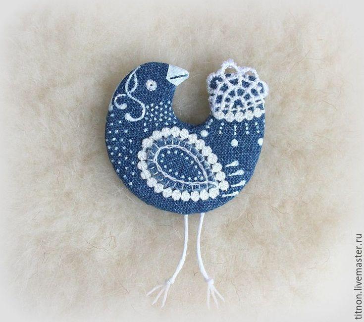 Купить Брошь текстильная.Синяя птица Гжелька.(джинсовая) - синий, bird of paradise, gzhel