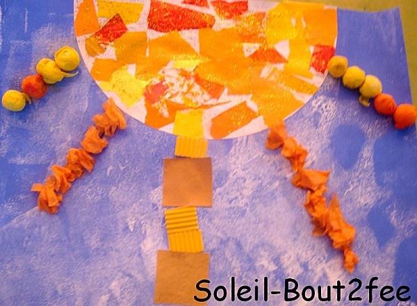 Encore un peu de motricité fine mais cette fois-ci, il s'agit de déchirer du papier.   J'ai donné une feuille de canson A4 sur laquelle j'ai tracé un demi-cercle. Les petits ont déchiré des petits morceaux de papiers dans les tons jaune et orange. Ils les ont ensuite collés sur le demi-cercle.  J'ai collé ces demi-cercles sur une peinture que les enfants avaient fait avant .