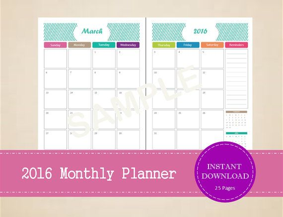 Printable 2016 Half Page Monthly Planner  by MBucherConsulting