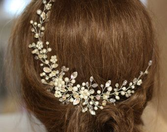 Copricapo, cristallo e perla nuziale capelli pezzo, copricapo da sposa avorio, nuziale capelli ornamenti, gioielli da sposa, sposa Halo.