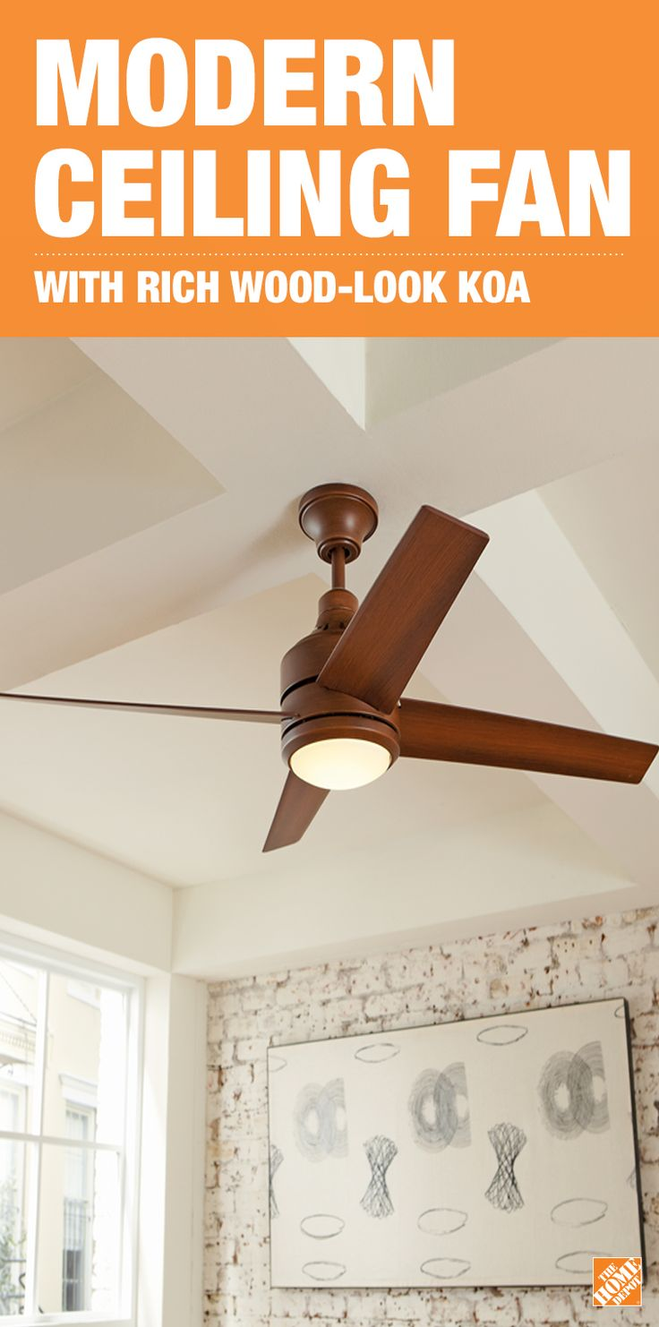 The distressed koa wood-look blades add a natural warmth to the clean, simple lines of this contemporary ceiling fan. Behind the etched opal glass is an energy-efficient integrated Samsung LED light. The remote control provides convenient operation. See the Mercer LED exclusively at The Home Depot.