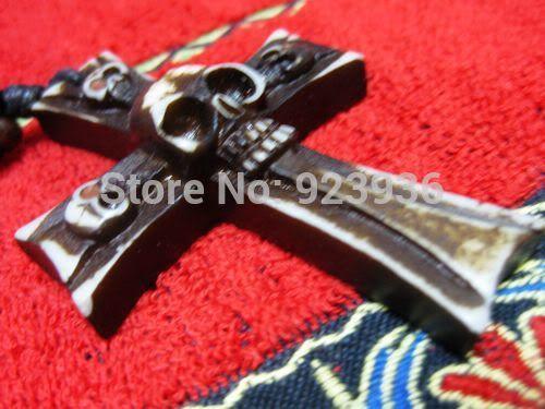 БЕСПЛАТНАЯ ДОСТАВКА 21 ШТ. Племени святой крест прохладный мужская готический призрак череп як кость байкер ожерелье