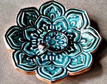 Ceramic Hibiscus Ring holder dish Dusty Rose and sage by dgordon