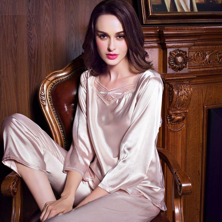 High Quality 2017 Summer Real Silk Pajamas set Women V neck Long Sleeve Pyjamas Casual Pijama Femmes Breathable Sleepwear 7130 #Affiliate
