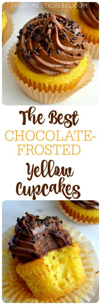 The BEST Chocolate-Frosted Yellow Cupcakes: moist, fluffy and buttery vanilla cupcakes topped with a rich, chocolaty and decadent EASY chocolate frosting. So simple, so impressive!