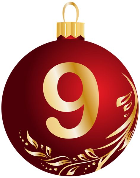 Christmas Ball Number Nine Transparent PNG Clip Art Image