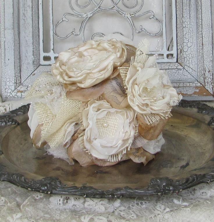 Burlap Fabric Flower Cake Topper Custom Order. Good for wedding.