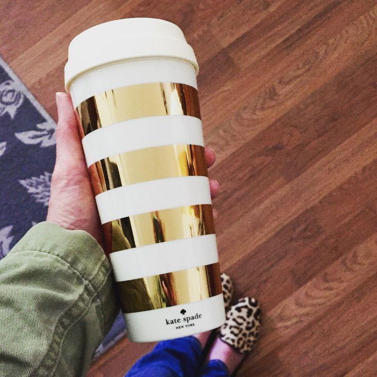 Kate Spade Love - Gold Stripe Coffee Tumbler
