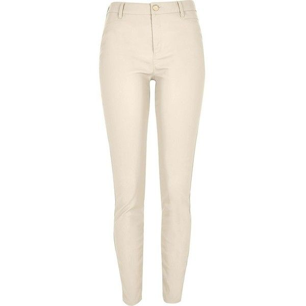 River Island Beige skinny leather-look trousers ($28) ❤ liked on Polyvore featuring pants, pants/leggings, sale, faux leather pants, beige pants, leather look pants, beige trousers and tall pants