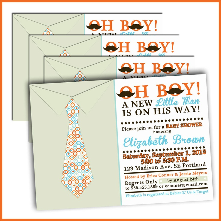 Little Man Tie Baby Shower Invitations by LullabyLoo on Etsy