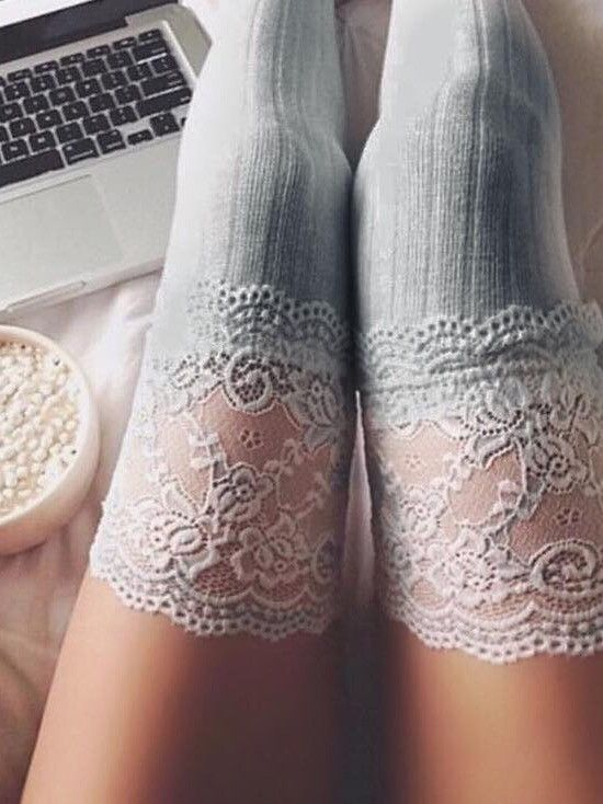 Delilah Floral Lace Thigh High Socks (GREY)                                                                                                                                                                                 More