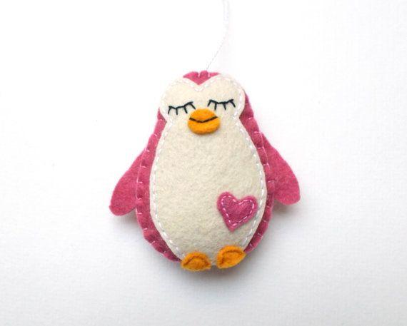 Christmas ornament felt penguin  handmande felt decoration