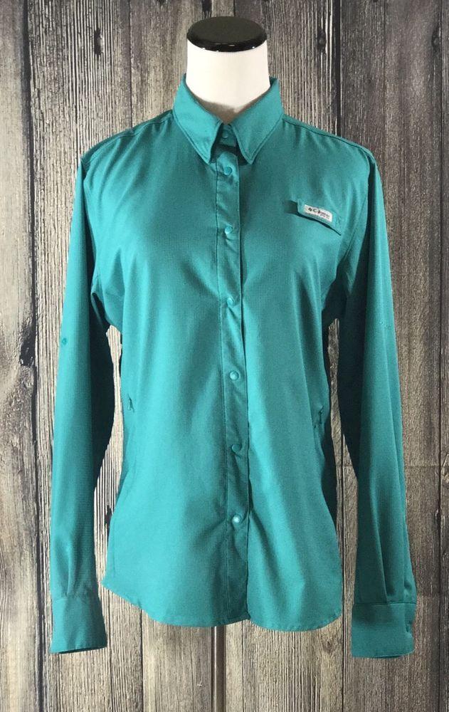 Columbia Women's PFG Terminal Tackle Long Sleeve Button Front Medium Shirt Aqua #Columbia #ButtonFrontShirt
