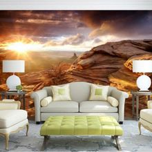 Europese stijl afrikaanse graslanden zonsopgang aangepaste persoonlijkheid 3d foto behang woonkamer achtergrond muurschilderingen mural muur papier(China (Mainland))