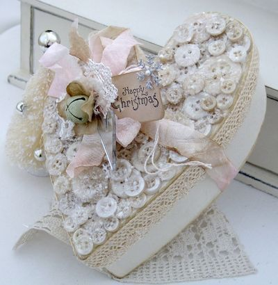 ~ Button Heart Box ~ / what a great way to refurbish those valentine candy boxes...from storing keepsakes, to storing buttons, laces & trims