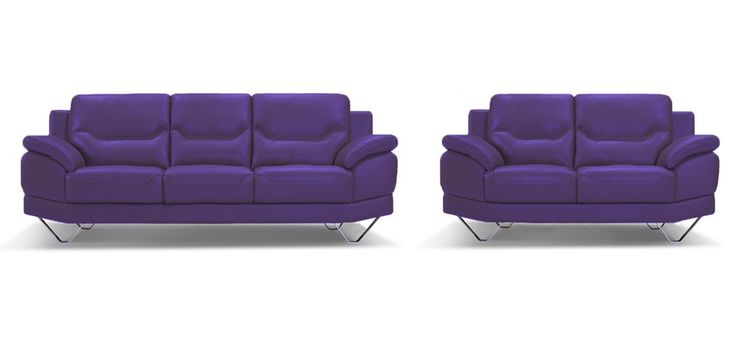 Inspiration 3 + 2 Seater Indigo Purple Leather Sofa Set - Sofas