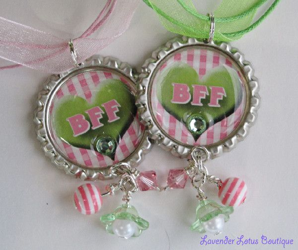 PAIR of Pink/Green BFF Heart Necklaces-BFF Heart Necklace,pair,silver,lime green, pink, ribbon,ball chain, swarovski crystals, pearl, acrylic, beads, lucite flower, fun, gift,bling,best friend gift, friend, charm, pendant