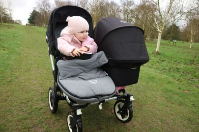 Our Bugaboo Donkey duo, we love the grey footmuff, perfect for keeping warm on cold days