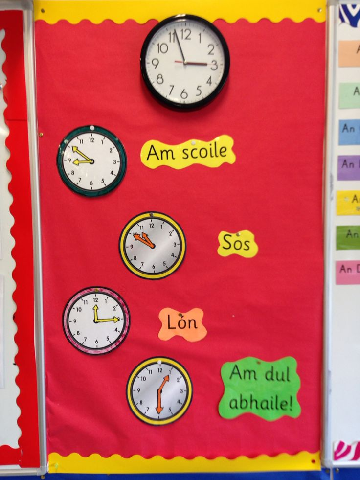 Naíonáin bheaga. Helping children to tell when lunch and home time is. Classroom routine. Gaelscoil