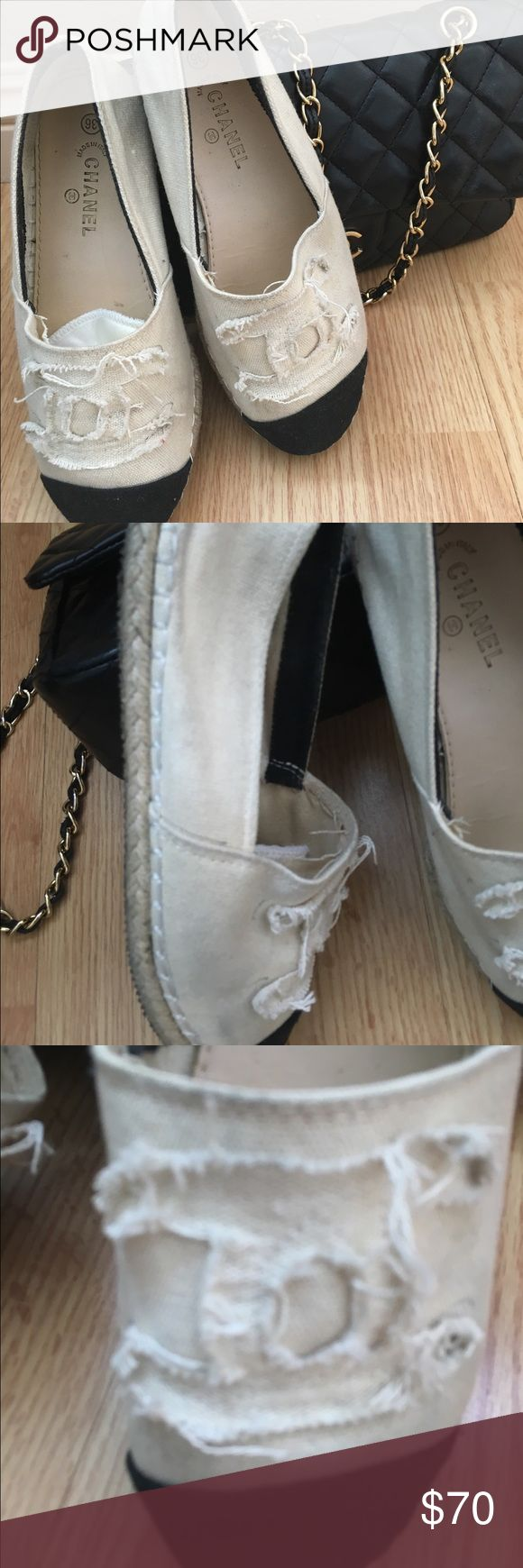 ORDER HERE. CANVAS CHANEL ESPADRILLES Size 6. Please review the pictures carefully as they are the best description of the item. A bit scuffs on the side. Black & white. Cap toe. Read comments CHANEL Shoes Espadrilles