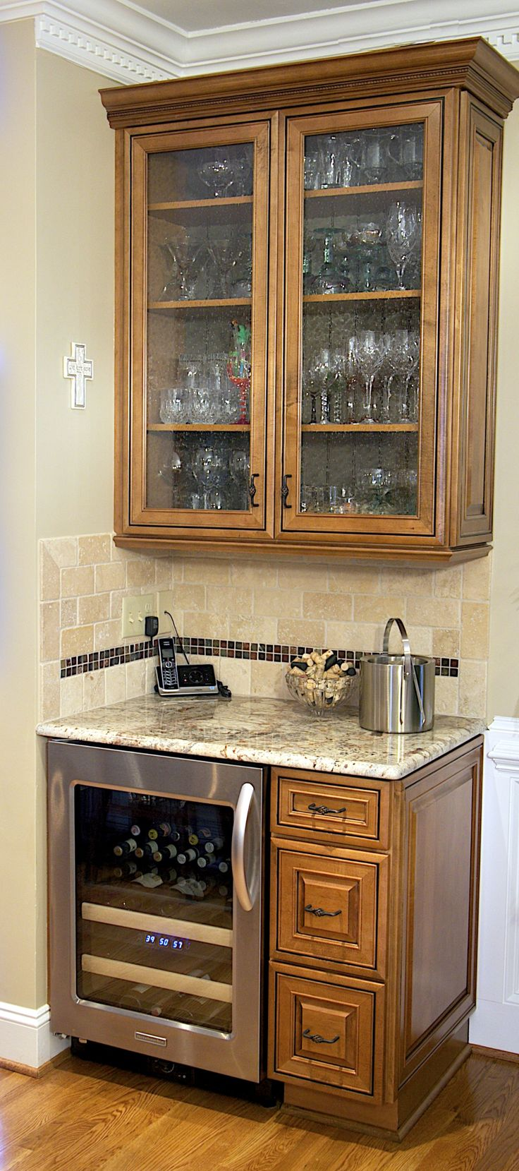 As Part Of A Kitchen Remodel These Clients Included A Beautiful Beverage  Center Featuring Kraftmaid Cabinets Backed With Sage Green Bead Board And  Seeded