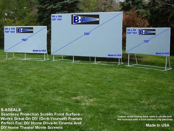 Made In USA! Great For Backyard Outdoor Movie Party, Birthday Party, Home Drive-In Theater, Cinema, Camp Party, Outdoor Sports Screen, Summer Pool Party, Movie Night And So Much More. Projection Screen Frames And Accessories From www.b-aDeals.com