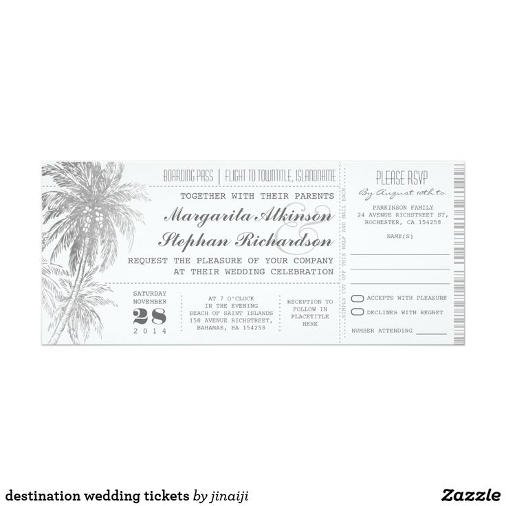 destination wedding tickets card Beautiful gray and white elegant wedding invitation in a boarding pass ticket style. Simple, inexpensive perfect for tropical destination wedding. Can be tied with any color ribbon to make it more revealing. ----If you push CUSTOMIZE IT button you will be able to change the font style, color, size, move it etc.