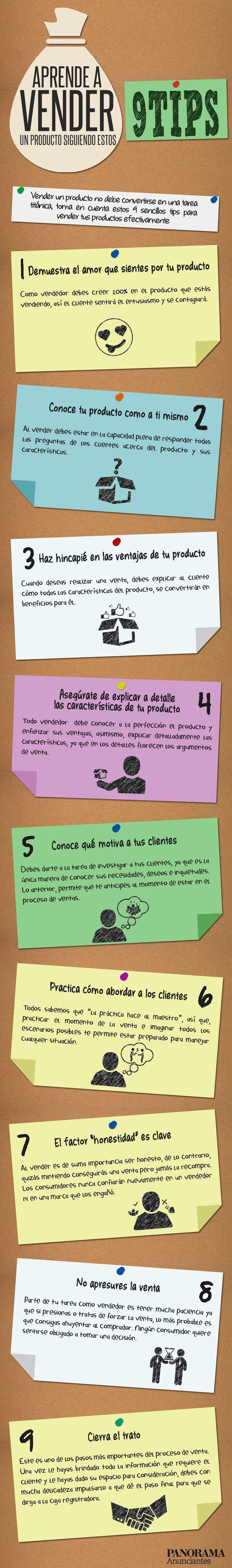 Hola: Una infografía con 9 consejos para vender un producto. Vía Un saludo