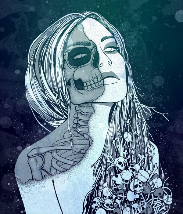Scandinavian Mythology - Goddesses of the North Hel: A being who presides over a realm of the hell, where she receives a those who die of illness or old age. By SFHD.