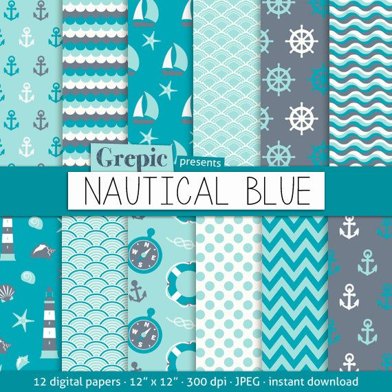 """Nautical digital paper: """"NAUTICAL BLUE"""" with nautical, navy and sea patterns and boat and waves textures for scrapbooking, invites, cards"""
