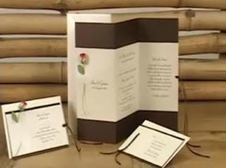 DIY wedding invitations: Brown wedding invitation with a small rose