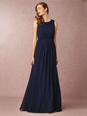 A-Line/Princess Scoop Sleeveless Sweep/Brush Train Pleats Chiffon Bridesmaid Dresses at HerDress Online