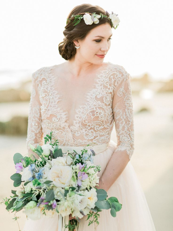 Photography : Koman Photography Read More on SMP: http://www.stylemepretty.com/little-black-book-blog/2016/06/20/gorgeous-gowns-beach-styled-shoot/